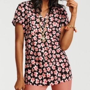 Cabi Harmony Floral Top #5347 pink black where XL